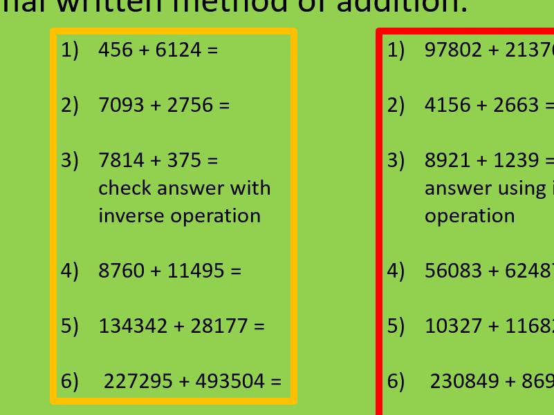 Formal written method addition year6