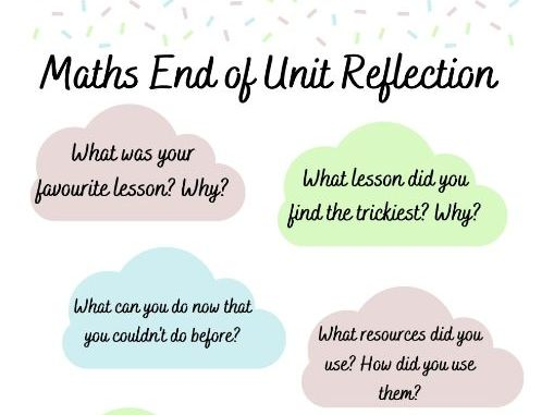 Maths End of Unit Reflection Prompts