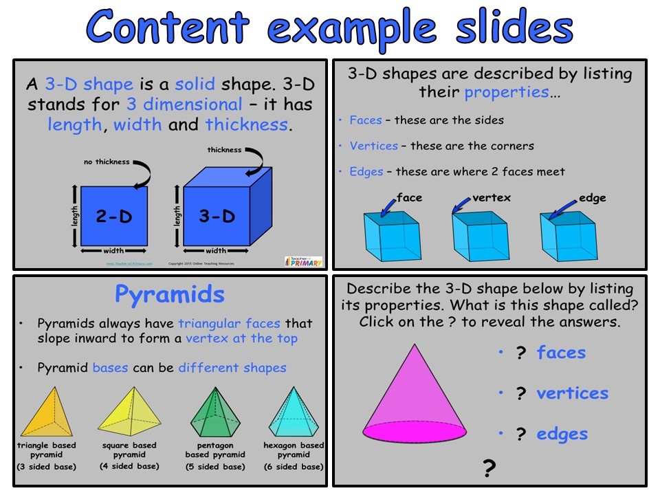 3-D Shapes Year 3 - Interactive PowerPoint and worksheets