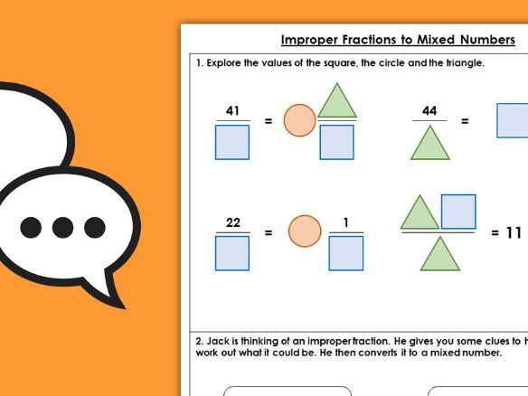 Year 5 Improper Fractions to Mixed Numbers Spring Block 1 Maths Discussion Problems