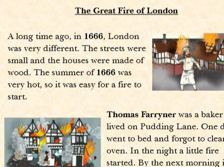 Great Fire of London Reading Page