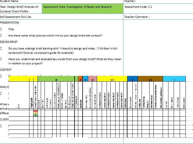 Edexcel D&T Teacher / Student Self assessment booklet for controlled assessment with linked tracker