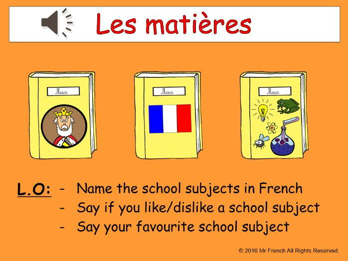 Les matières (French School subjects) 3 lessons! Y4    3rd Grade
