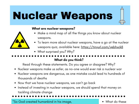 Nuclear weapons- reflection and discussion