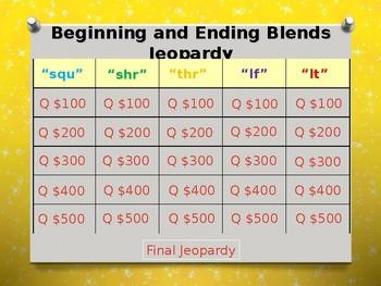 Beginning and Ending Blends (squ, thr, shr, lf, lt) Jeopardy Power Point