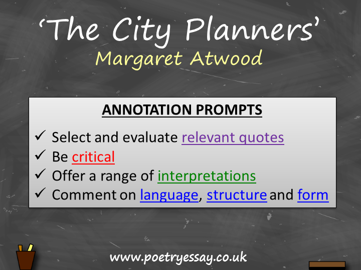 Margaret Atwood – 'The City Planners' – Annotation / Planning Table / Questions / Booklet
