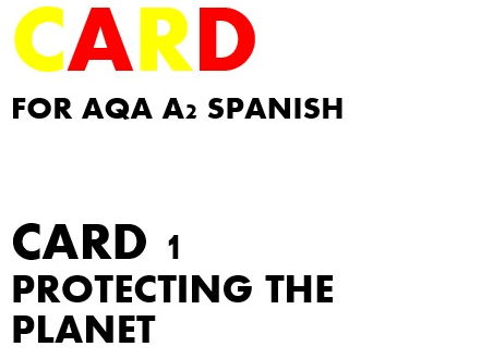 SPEAKING CARD 1 for AQA A2 SPANISH