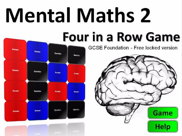 Four in a Row Interactive Quiz Game: Mental Maths GCSE FREE