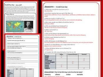 WORLD WAR ONE: How did it all begin? Reading comprehension Package