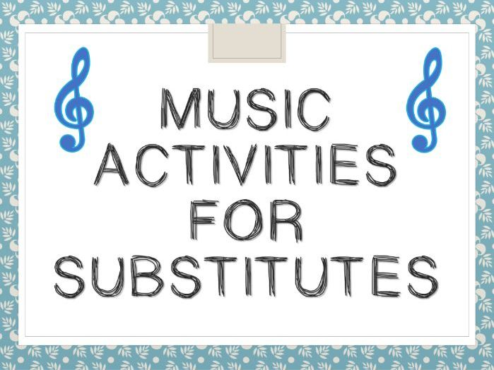 Music Activities for Subsitutes/Cover