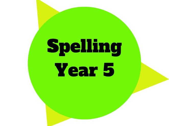 Year 5 Year Plan - Spelling