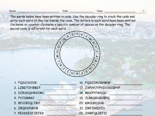 Tourist Attractions Around The World Decoder Ring Worksheet