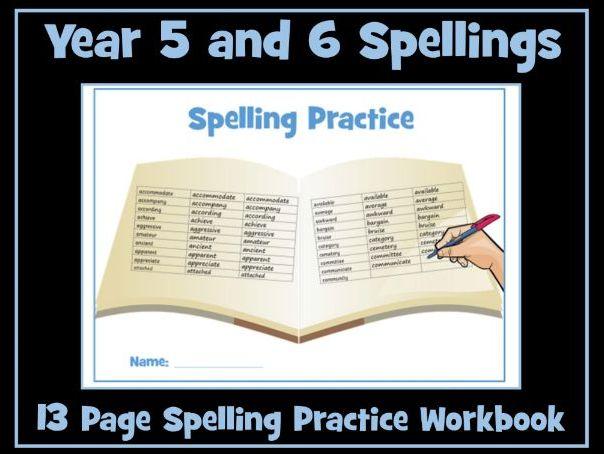 Spellings: Year 5 /6 Spelling Practice Worksheets