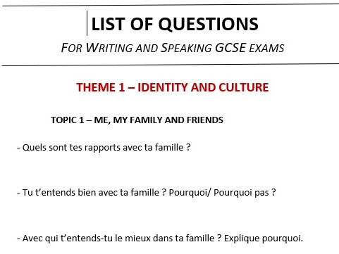 New French GCSE - List of questions