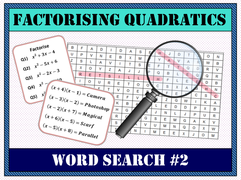 ✏️ Factorising Quadratics Word Search #2 🔎