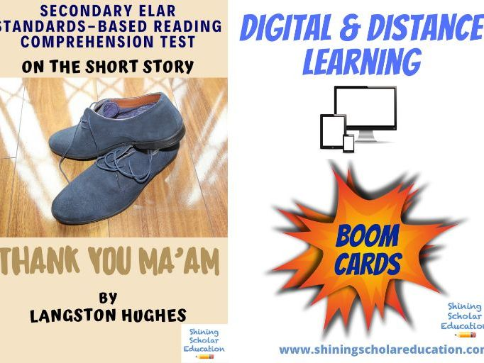 """Thank You Ma'am"" by L. Hughes *ONLINE* (BOOM CARDS) Reading Comprehension Test"