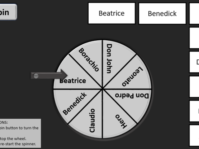Shakespeare Much Ado About Nothing Character spinner revision tool differentiated tasks