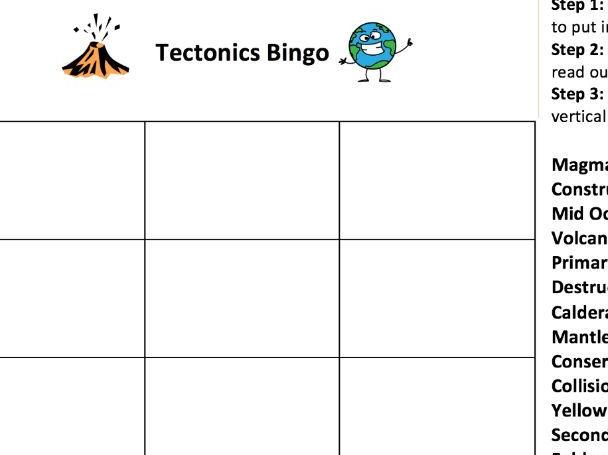 Tectonics KS3 & KS4 Bingo