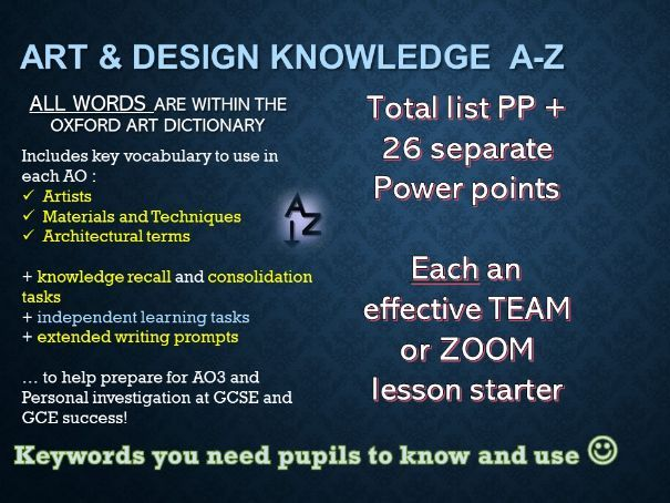 Art & Design Keywords A-Z Great 26 REMOTE STARTER activities - one per lesson!