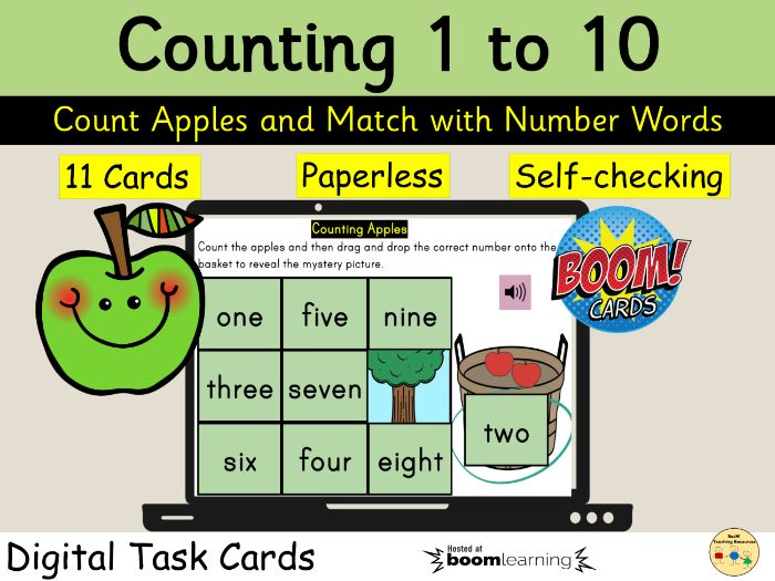 Counting 1 to 10 Apples Harvest Autumn Fall BOOM Cards Distance Learning
