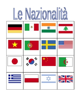 Nazionalità (Nationalities in Italian) Bingo game