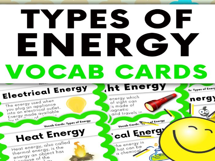 Types of Energy Vocabulary Cards