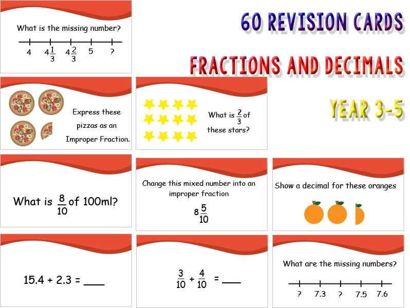 60 Revision Cards: Fractions and Decimals year 3, 4 and 5