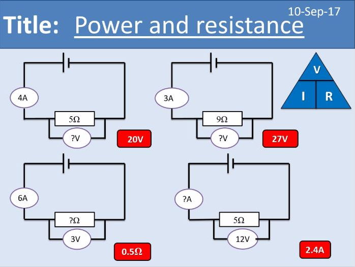 AQA New GCSE Electricity - Lesson 9 - Power and Resistance