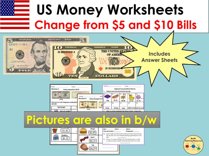 US Money Worksheets Giving Change and Word Problems