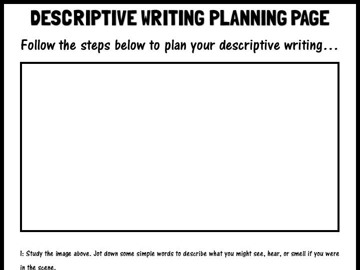Descriptive writing planning page
