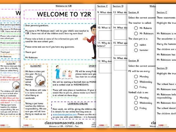 Year 2 Back to School Whole Class Guided Reading Comprehension Welcome to Y2R