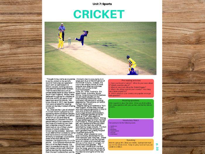 Cricket - ESL / English Reading material w/ No Prep Lesson Plan
