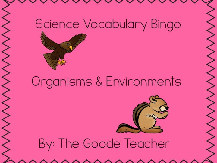 Organisms & Environments Science Bingo