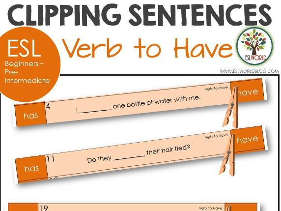 Sentence Clip Cards Verb to Have