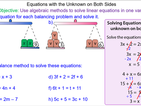 Solving Equations with the Unknown on Both Sides