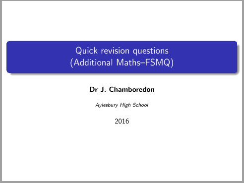 FSMQ maths revision questions