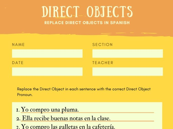 Direct Objects Worksheet Spanish