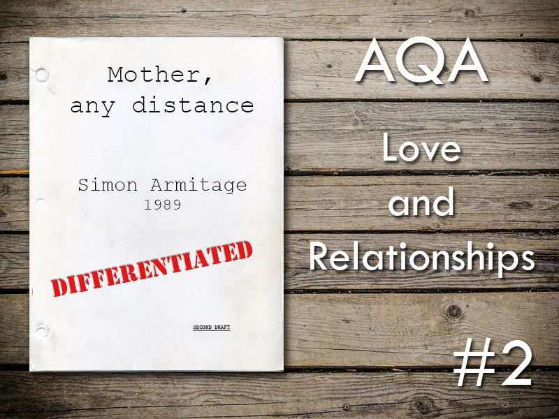 AQA Poetry Differentiated - Mother, Any Distance (Love and Relationships Unit)(KS4)