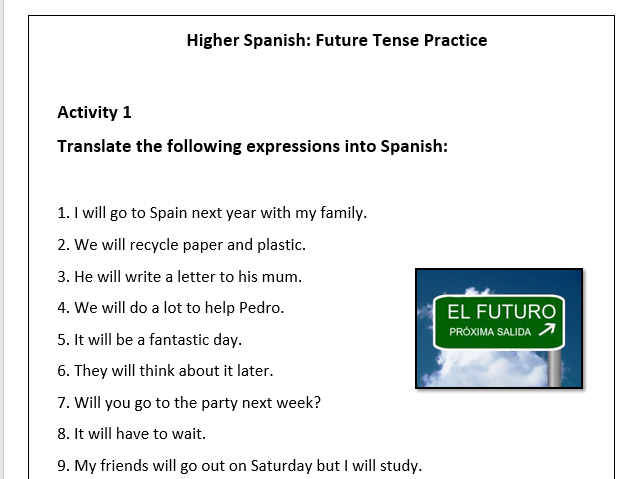 Spanish - Future Tense Worksheet - El Futuro