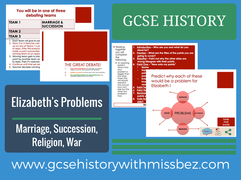 GCSE HISTORY: ELIZABETH I: Problems: Marriage and Succession, Religion and War (all exam boards)