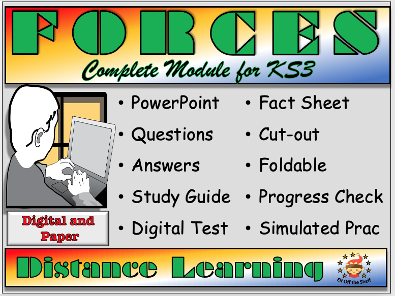 Forces - Complete Distance Learning Module for KS3 (Mass, Weight, Friction, Air Resistance, Balanced and Unbalanced Forces, Pressure, Speed, Moments, Hooke's Law)