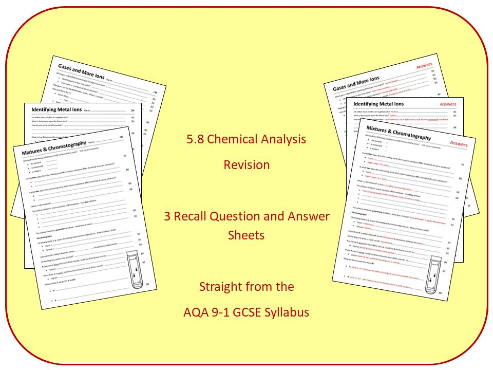Topic 8: Chemical Analysis Revision Question and Answer Sheets (inc. Triple)