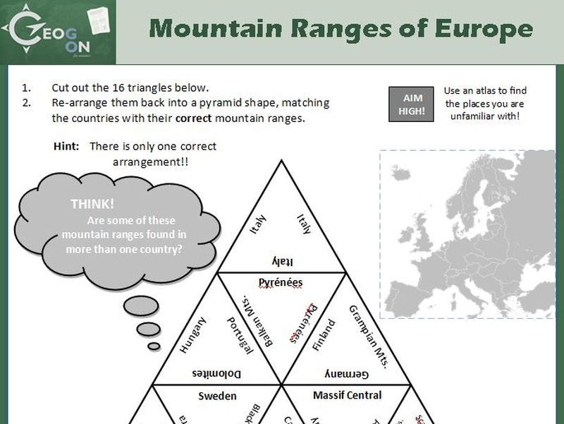 Mountain Ranges of Europe Triangle Puzzle