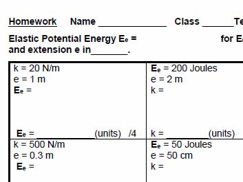 AQA GCSE Physics Elastic Potential Energy Equation practice, homework and test