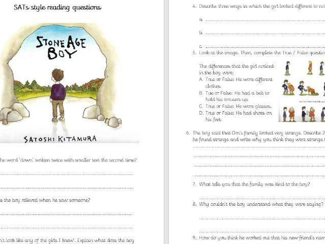 Stone Age Boy SATs style Whole class reading questions Year 3 and 4