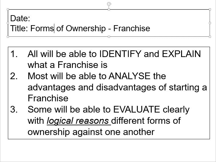 OCR GCSE Applied Business Lesson 3 - Franchise