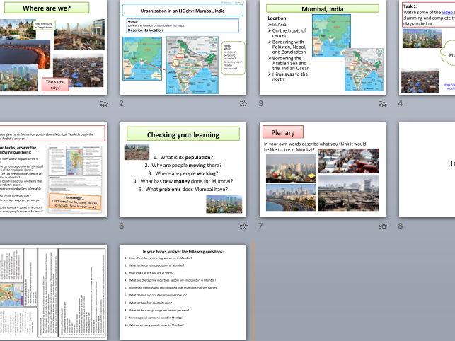 Introduction to Mumbai - features of the city and its population (KS4 Urban Issues & Challenges)