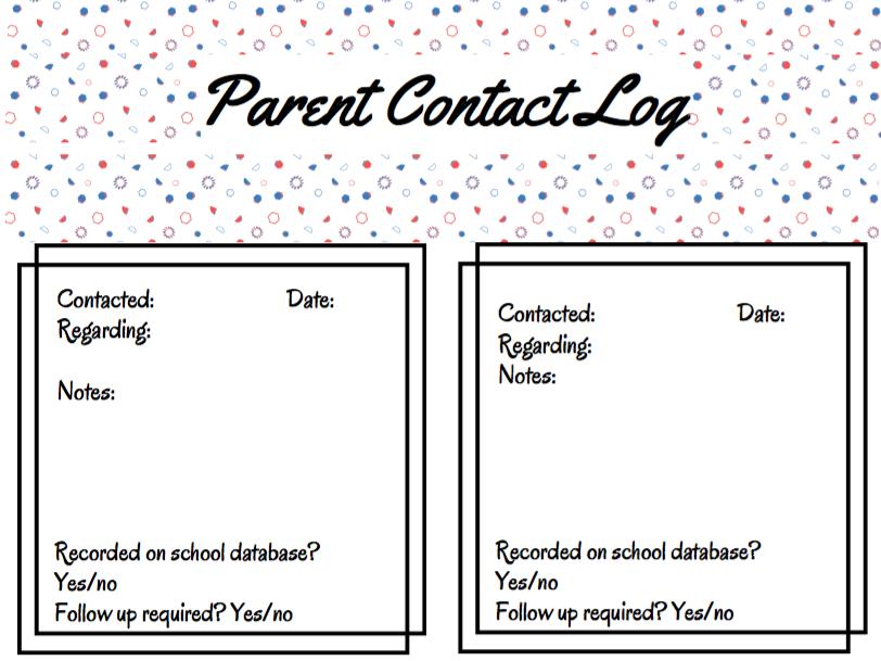 Teacher Contact Log
