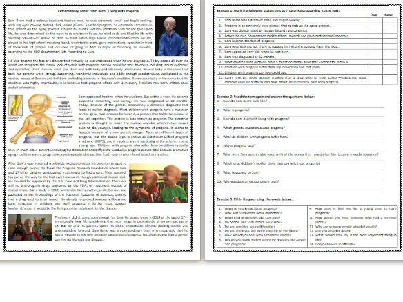 Extraordinary Teens: Sam Berns, Living With Progeria - - Reading Comprehension Worksheet / Text