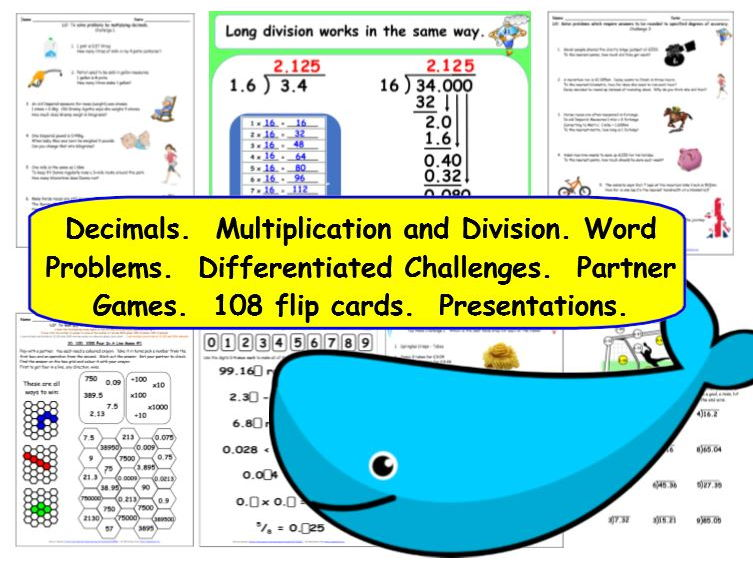 Decimals Y6 Multiplication and Division - Differentiated Challenges, Activities, Presentations